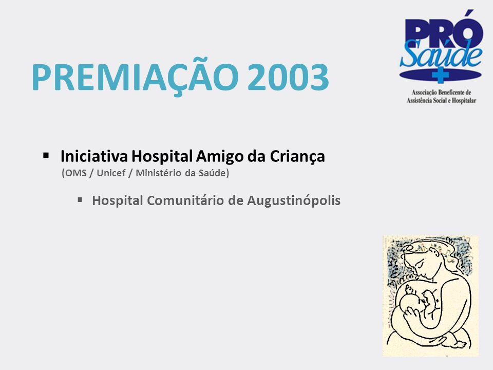 PREMIAÇÃO 2003 Iniciativa Hospital Amigo da Criança