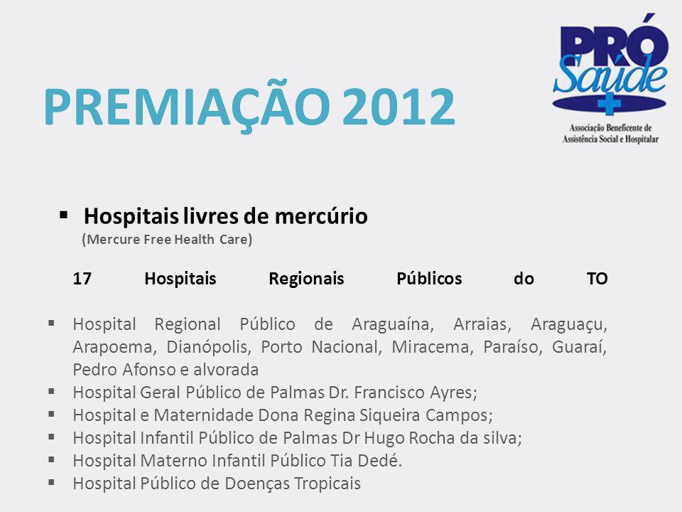 PREMIAÇÃO 2012 Hospitais livres de mercúrio
