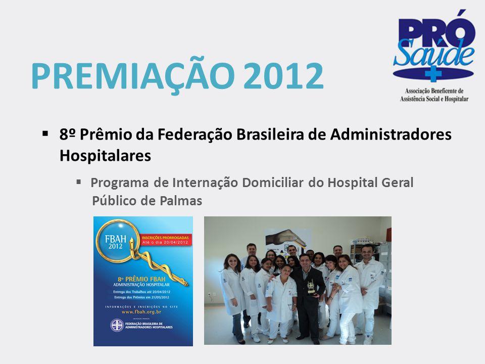 PREMIAÇÃO 2012 8º Prêmio da Federação Brasileira de Administradores Hospitalares. Programa de Internação Domiciliar do Hospital Geral.