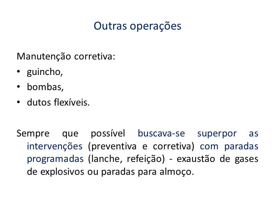 Outras operações Manutenção corretiva: guincho, bombas,