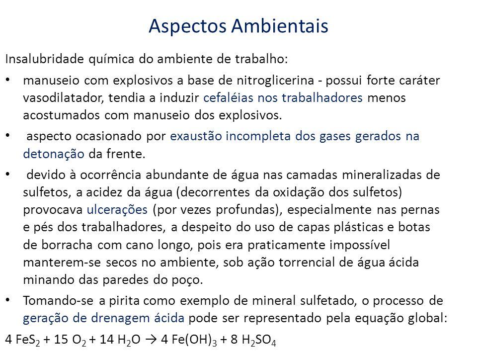 Aspectos Ambientais Insalubridade química do ambiente de trabalho: