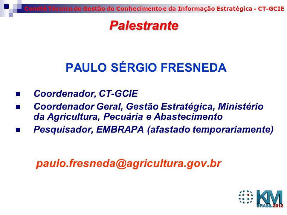 Palestrante PAULO SÉRGIO FRESNEDA paulo.fresneda@agricultura.gov.br