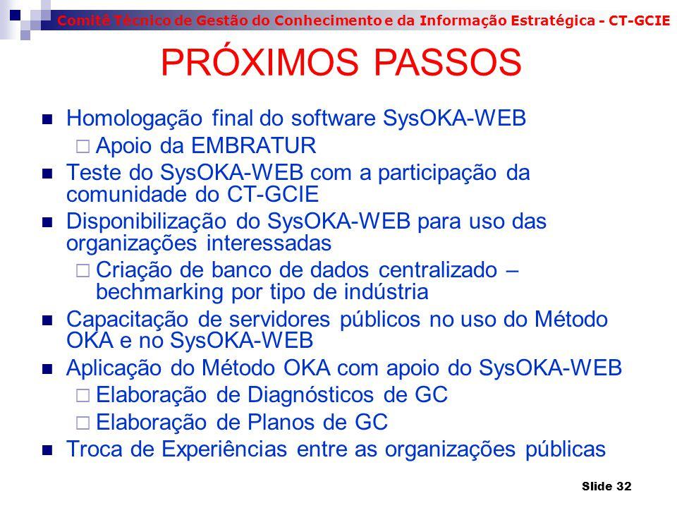 PRÓXIMOS PASSOS Homologação final do software SysOKA-WEB