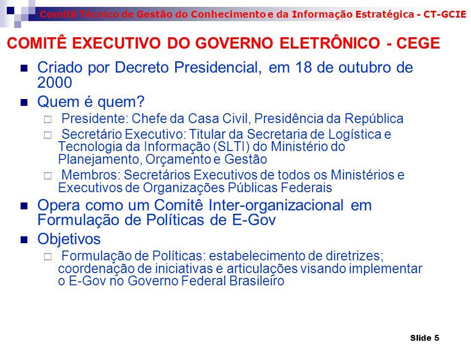 COMITÊ EXECUTIVO DO GOVERNO ELETRÔNICO - CEGE