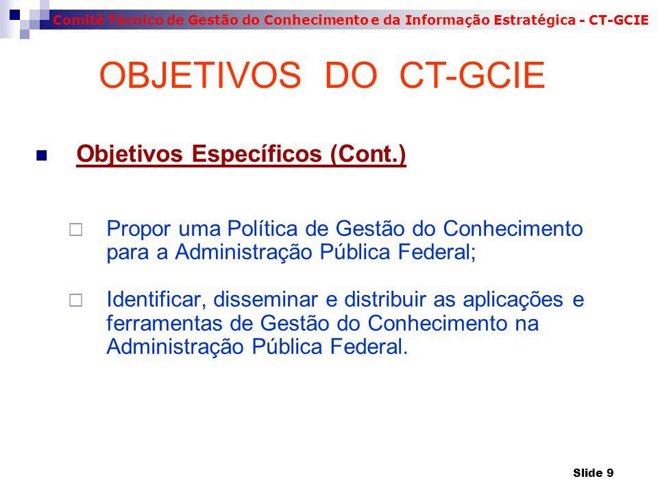 OBJETIVOS DO CT-GCIE Objetivos Específicos (Cont.)