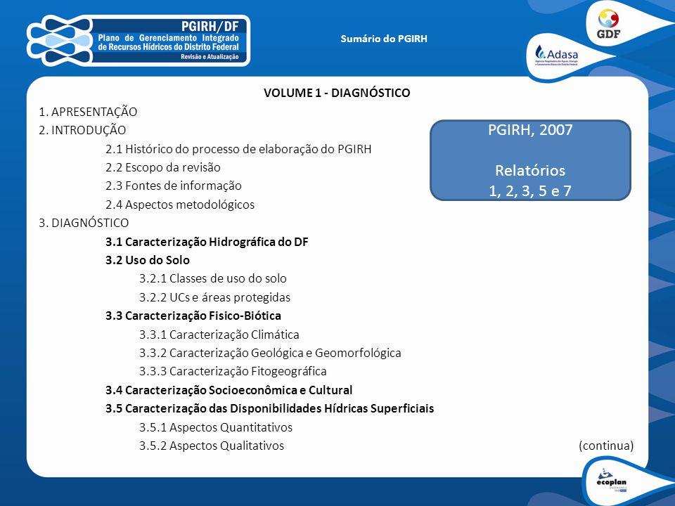 PGIRH, 2007 Relatórios 1, 2, 3, 5 e 7 VOLUME 1 - DIAGNÓSTICO