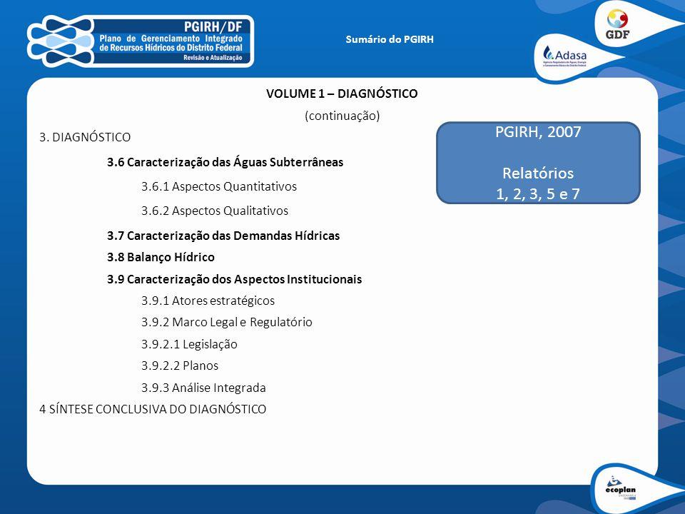 PGIRH, 2007 Relatórios 1, 2, 3, 5 e 7 VOLUME 1 – DIAGNÓSTICO