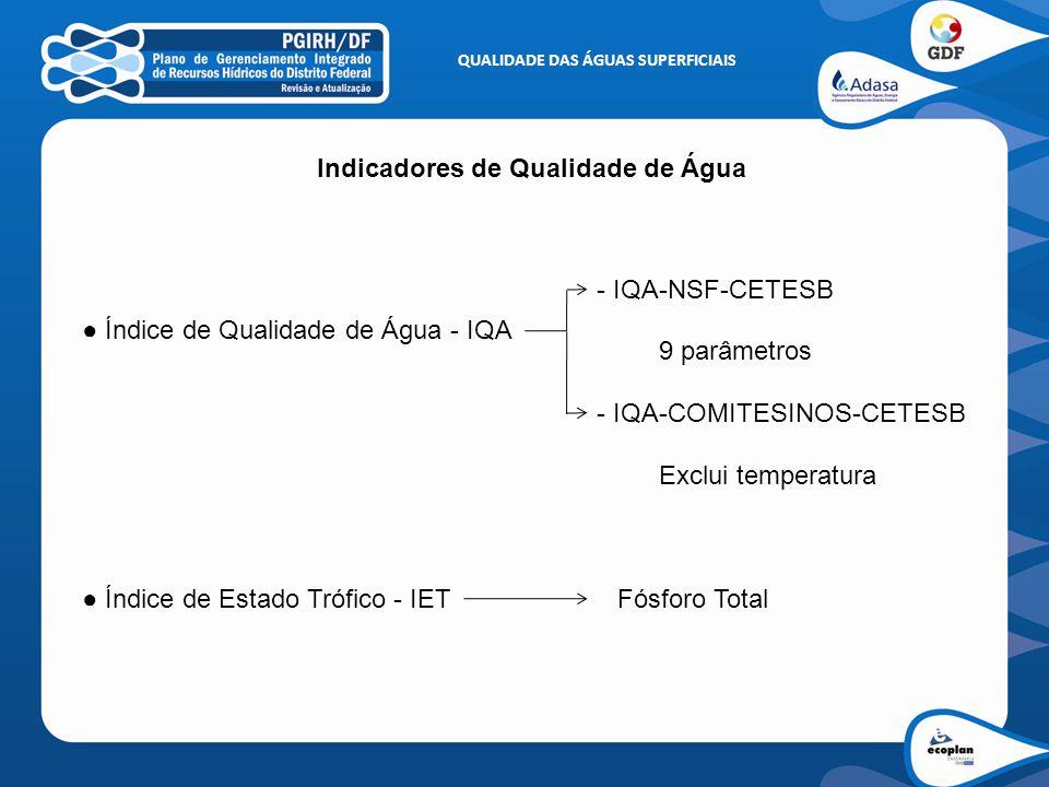 QUALIDADE DAS ÁGUAS SUPERFICIAIS Indicadores de Qualidade de Água
