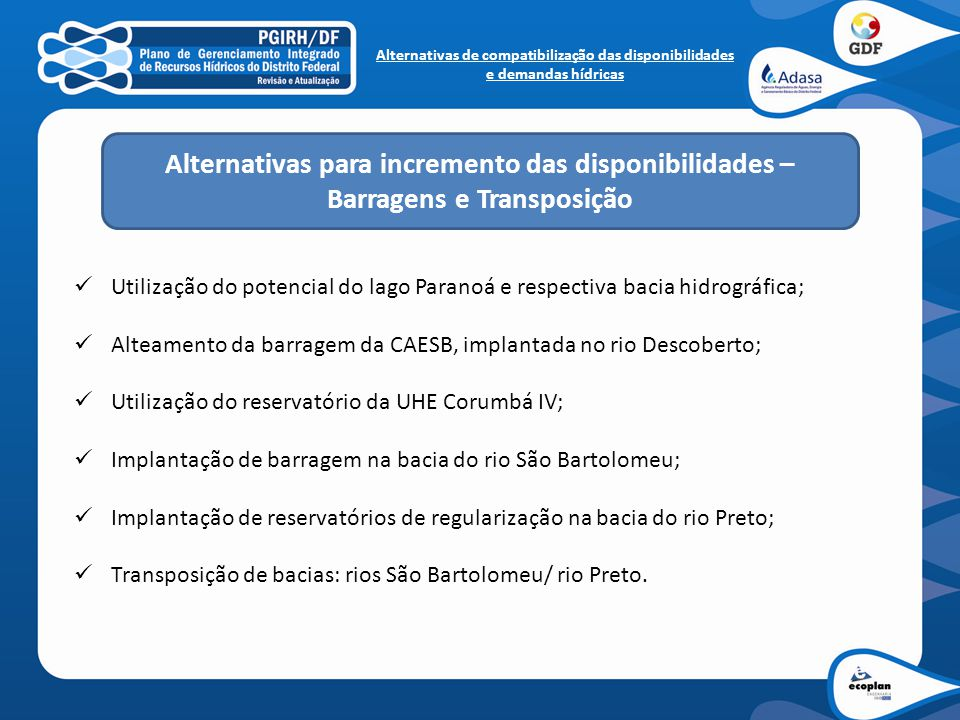 Alternativas para incremento das disponibilidades –