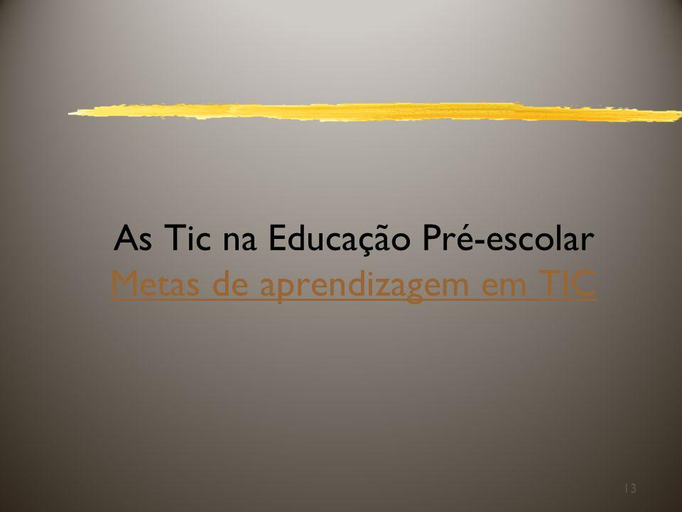 As Tic na Educação Pré-escolar Metas de aprendizagem em TIC