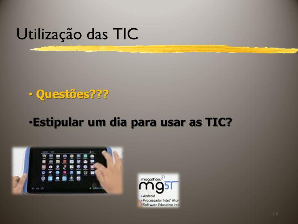 Utilização das TIC Questões Estipular um dia para usar as TIC