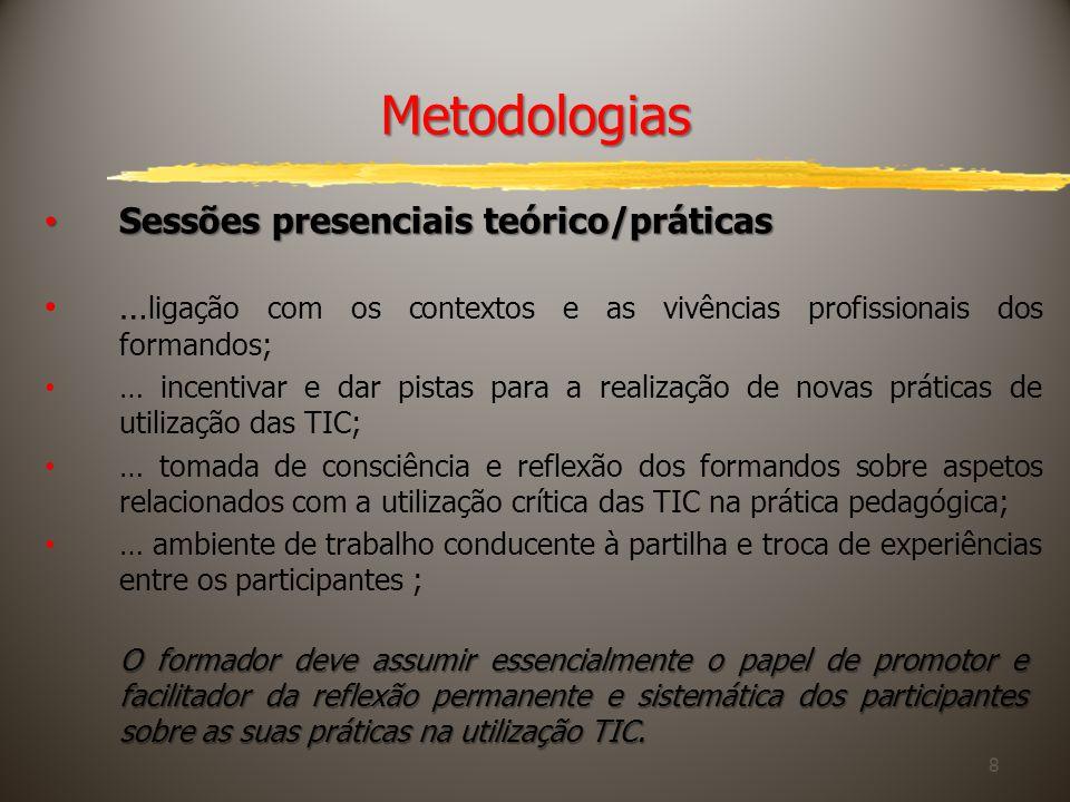 Metodologias Sessões presenciais teórico/práticas