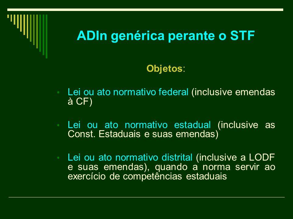 ADIn genérica perante o STF