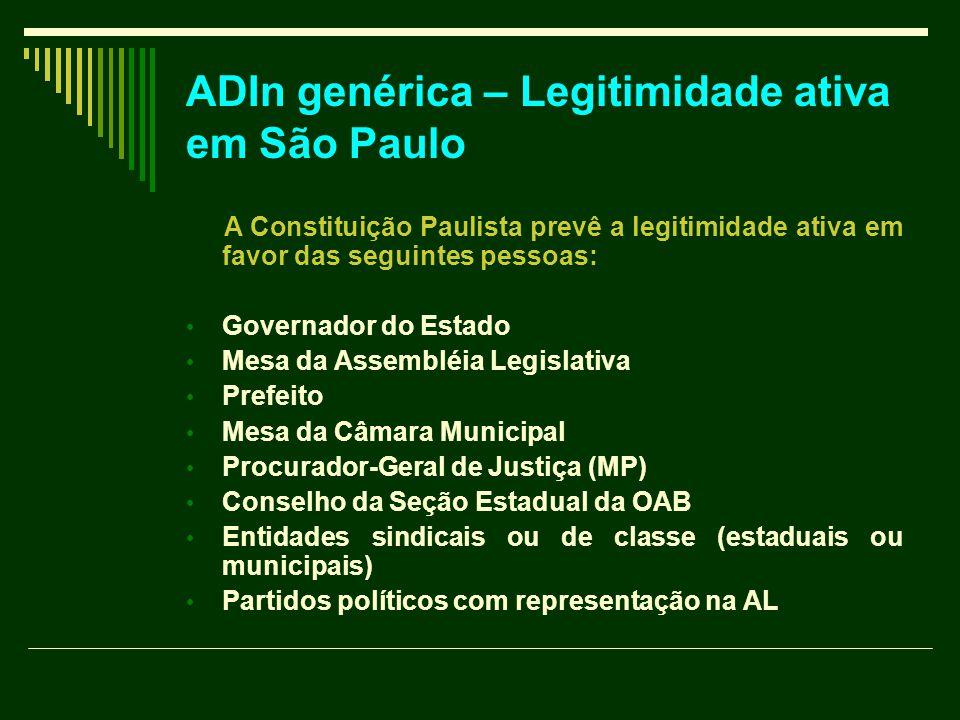 ADIn genérica – Legitimidade ativa em São Paulo
