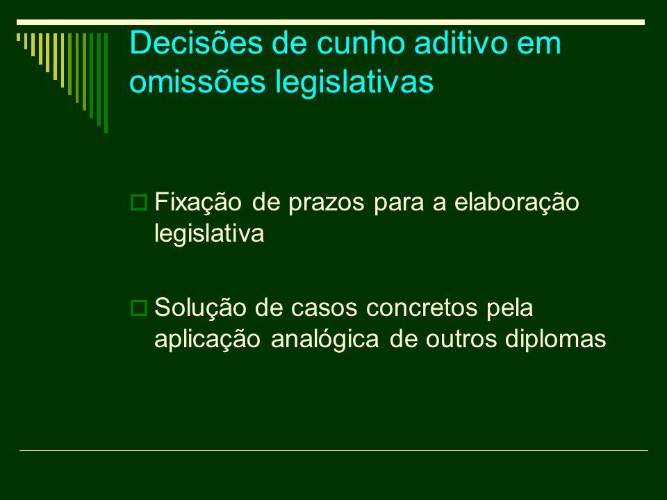Decisões de cunho aditivo em omissões legislativas