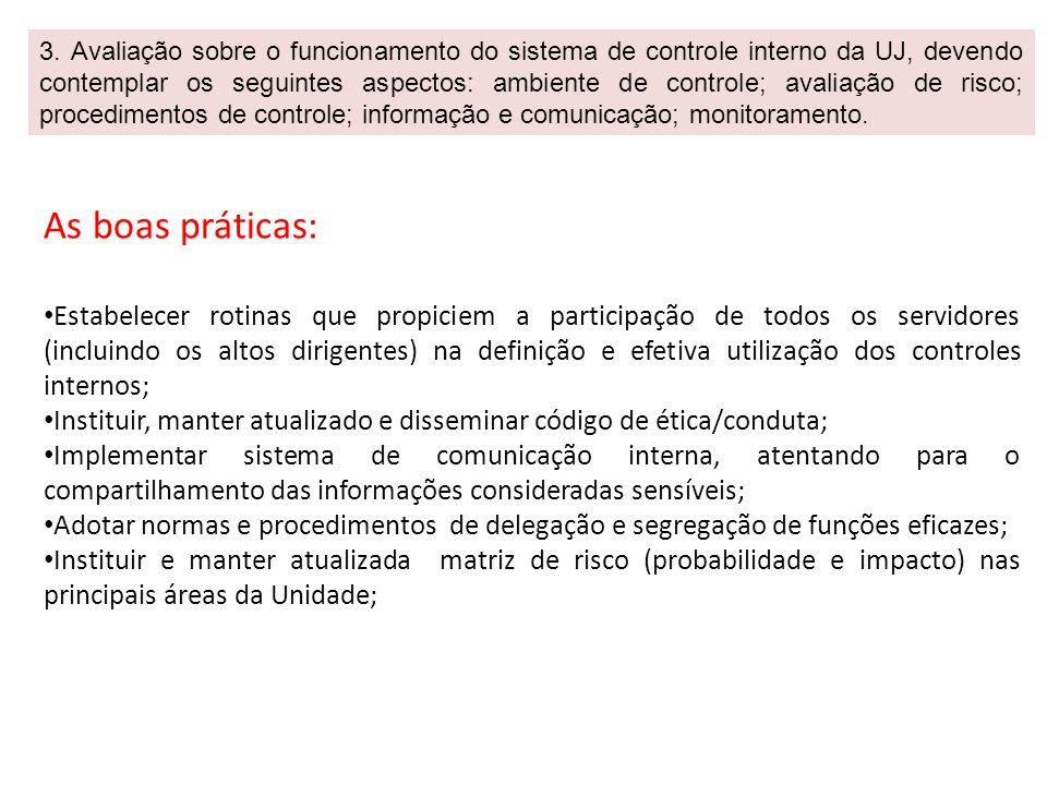 3. Avaliação sobre o funcionamento do sistema de controle interno da UJ, devendo contemplar os seguintes aspectos: ambiente de controle; avaliação de risco; procedimentos de controle; informação e comunicação; monitoramento.