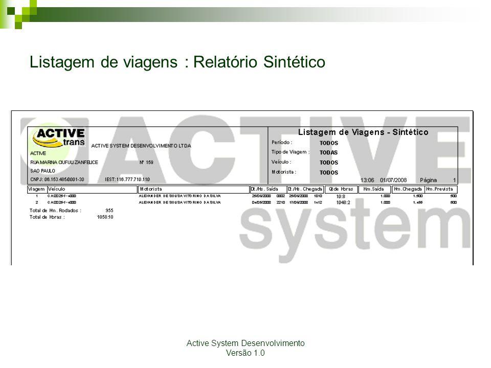 Listagem de viagens : Relatório Sintético