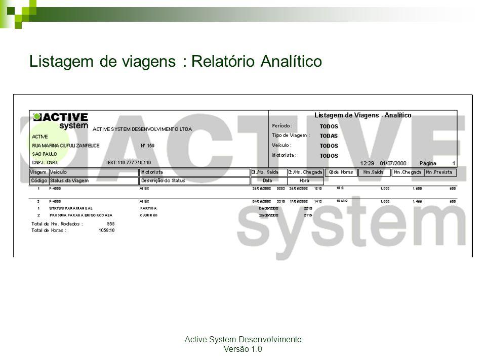 Listagem de viagens : Relatório Analítico