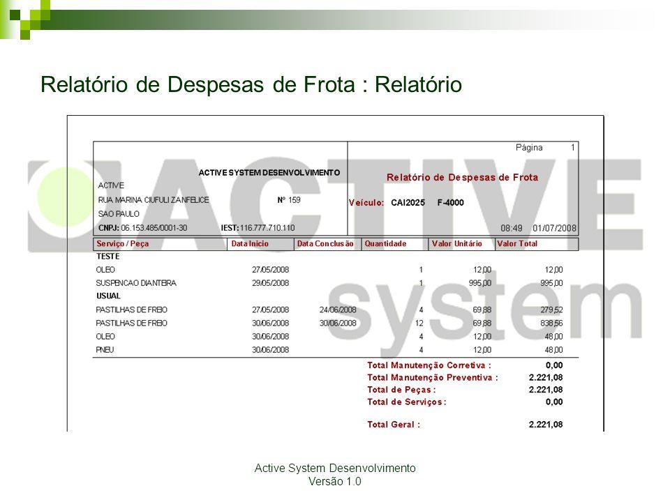 Relatório de Despesas de Frota : Relatório