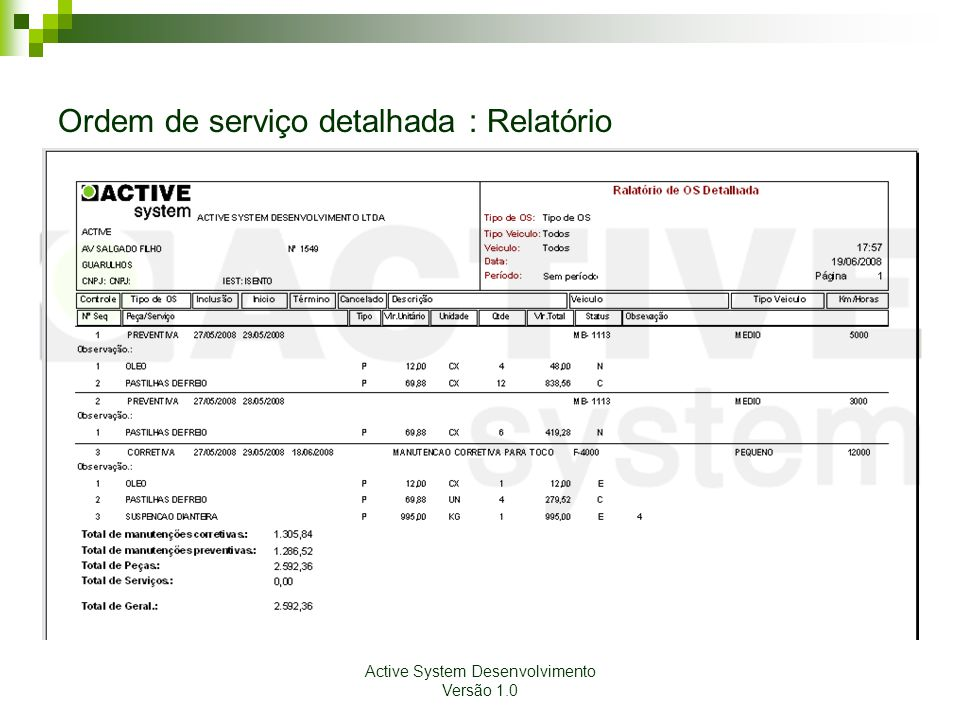 Ordem de serviço detalhada : Relatório