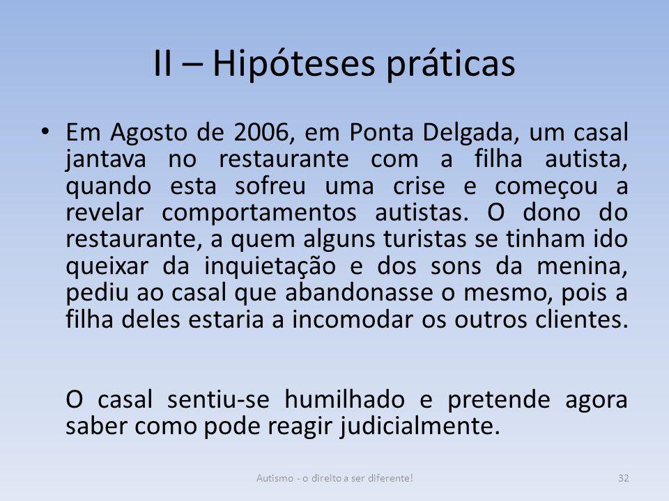 II – Hipóteses práticas