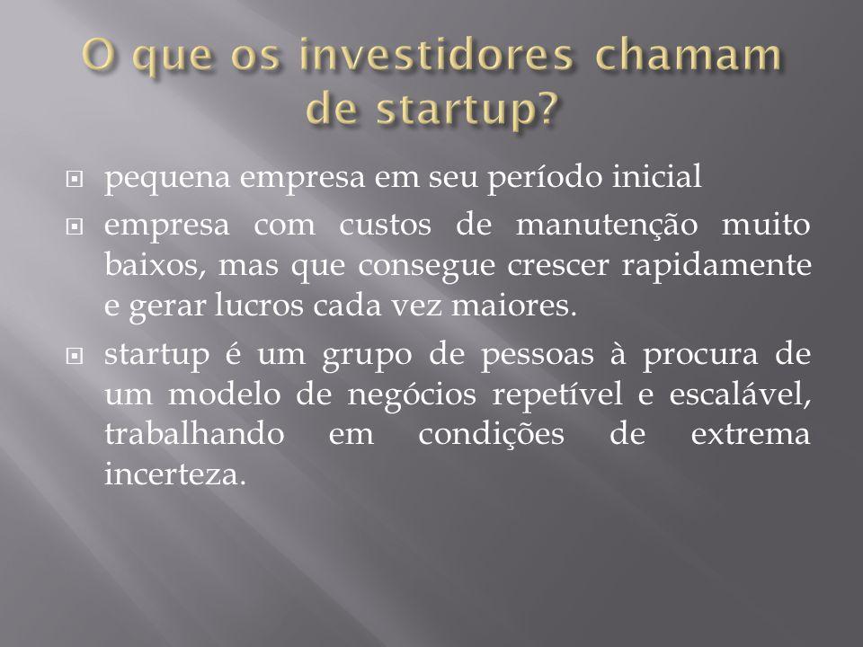 O que os investidores chamam de startup