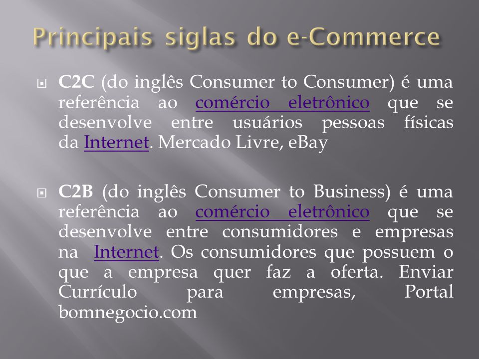 Principais siglas do e-Commerce