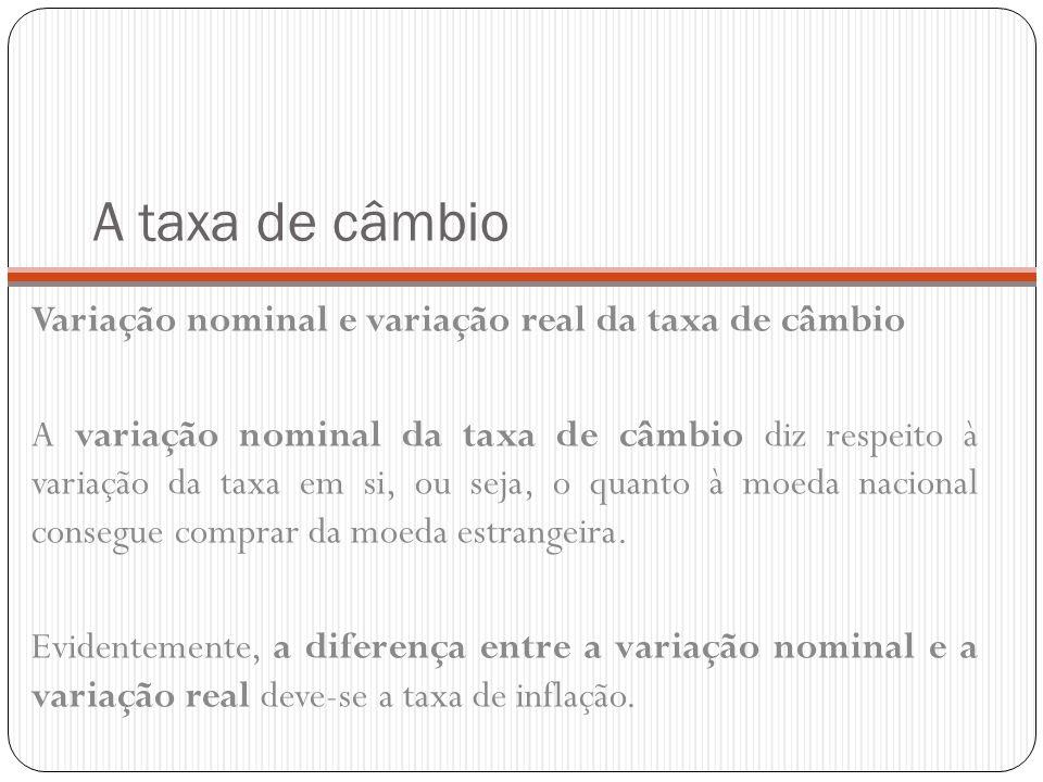 A taxa de câmbio Variação nominal e variação real da taxa de câmbio