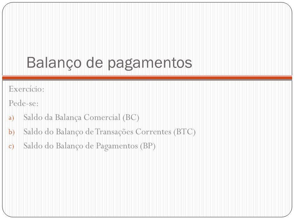 Balanço de pagamentos Exercício: Pede-se: