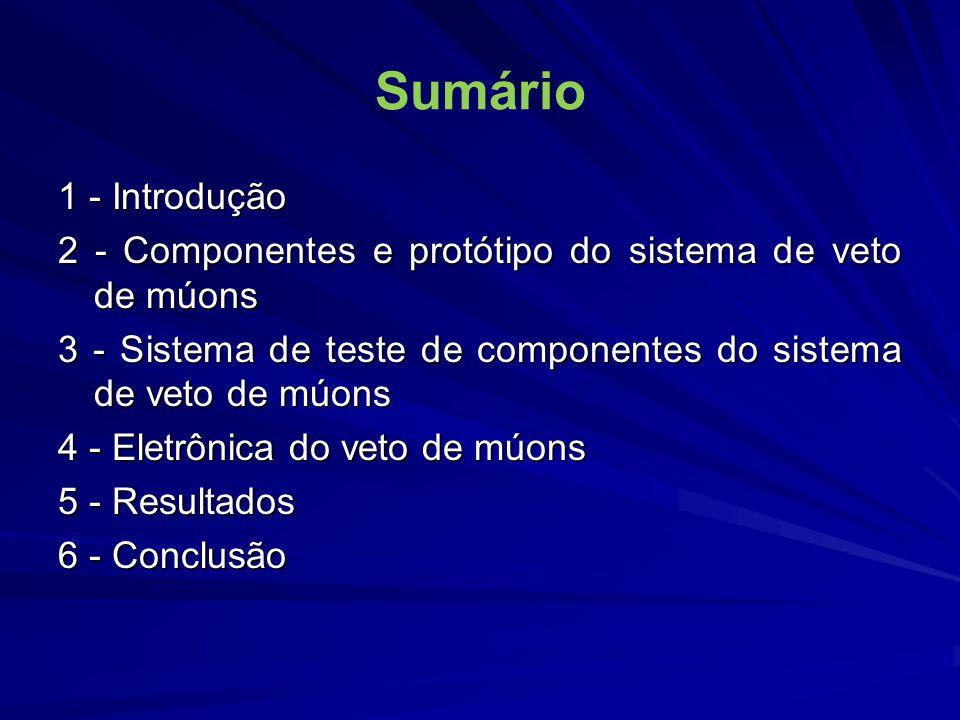 Sumário 1 - Introdução. 2 - Componentes e protótipo do sistema de veto de múons. 3 - Sistema de teste de componentes do sistema de veto de múons.