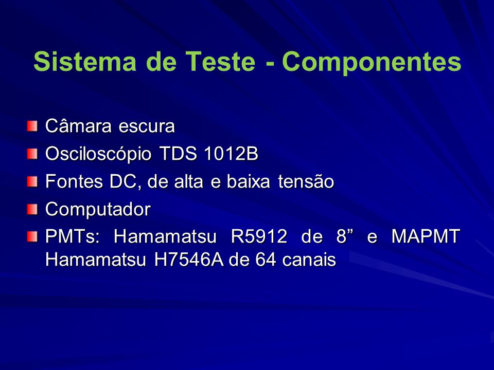 Sistema de Teste - Componentes