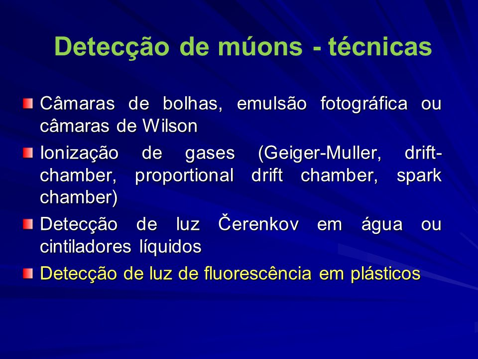 Detecção de múons - técnicas