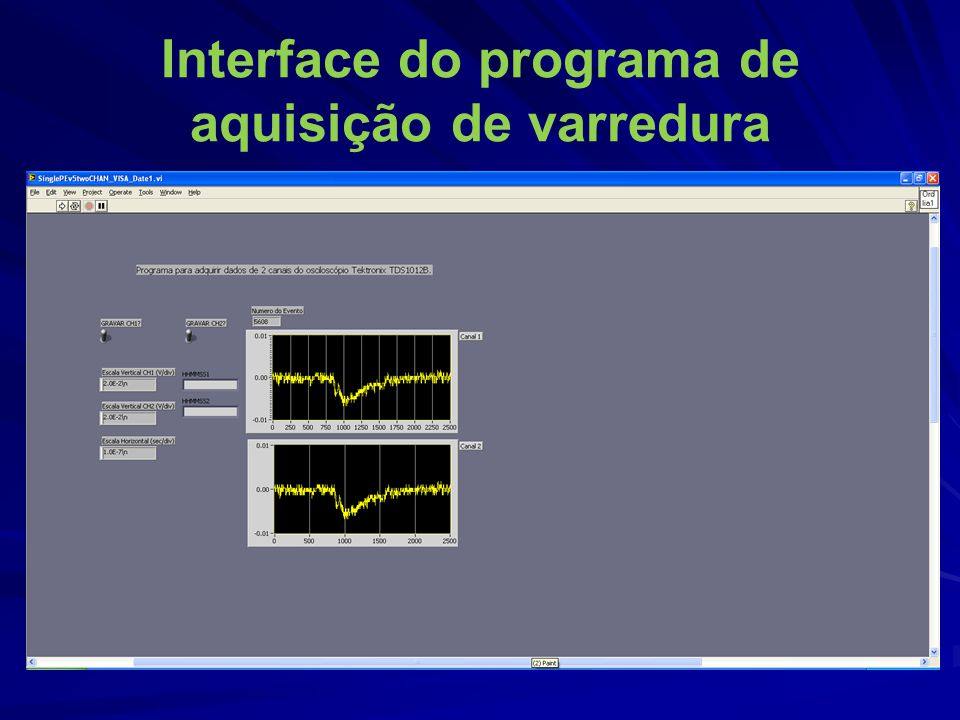 Interface do programa de aquisição de varredura