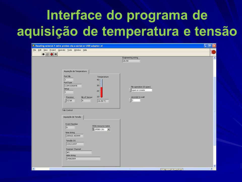 Interface do programa de aquisição de temperatura e tensão