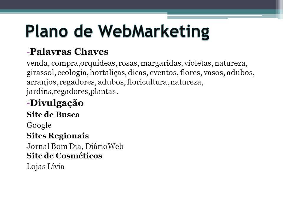 Plano de WebMarketing Palavras Chaves Divulgação