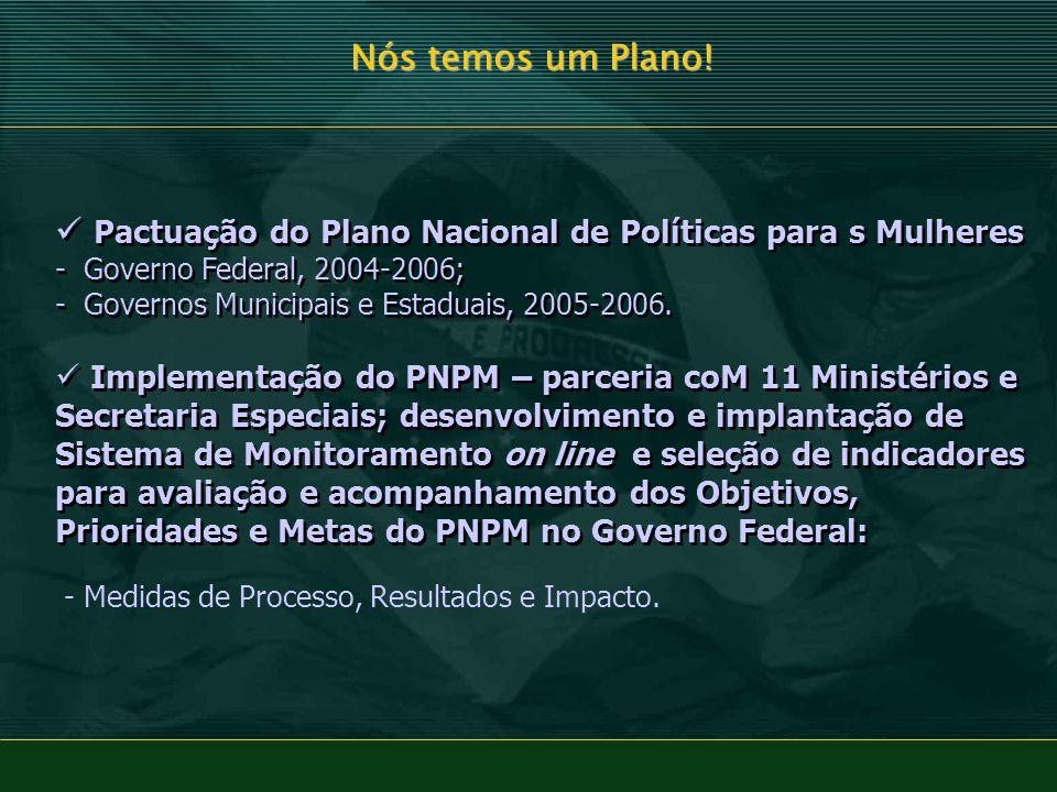 Nós temos um Plano! Pactuação do Plano Nacional de Políticas para s Mulheres - Governo Federal, 2004-2006;
