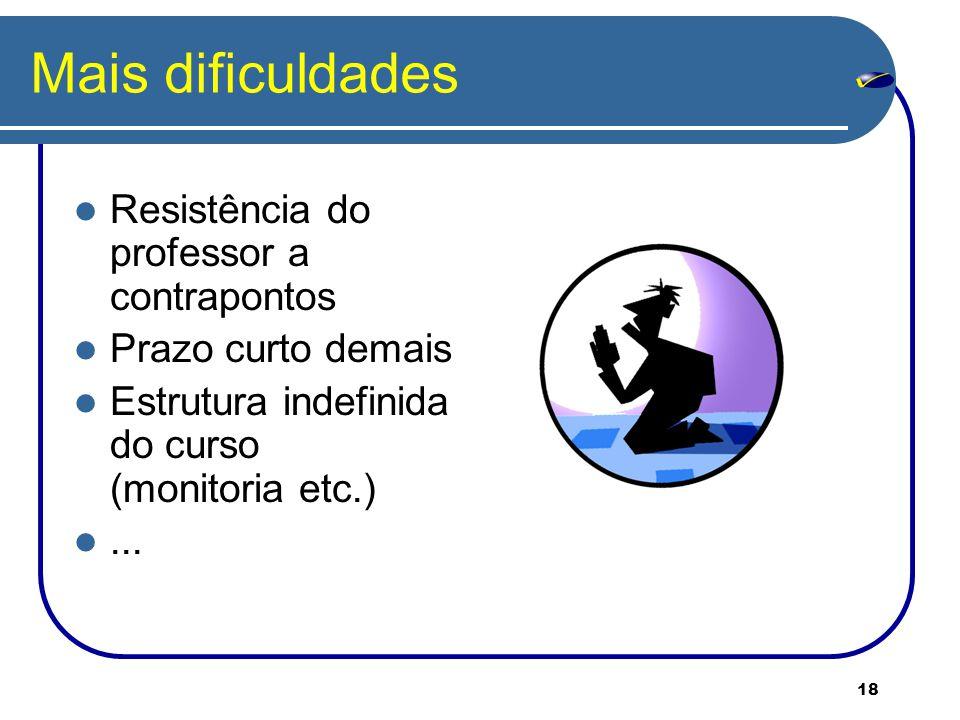 Mais dificuldades Resistência do professor a contrapontos