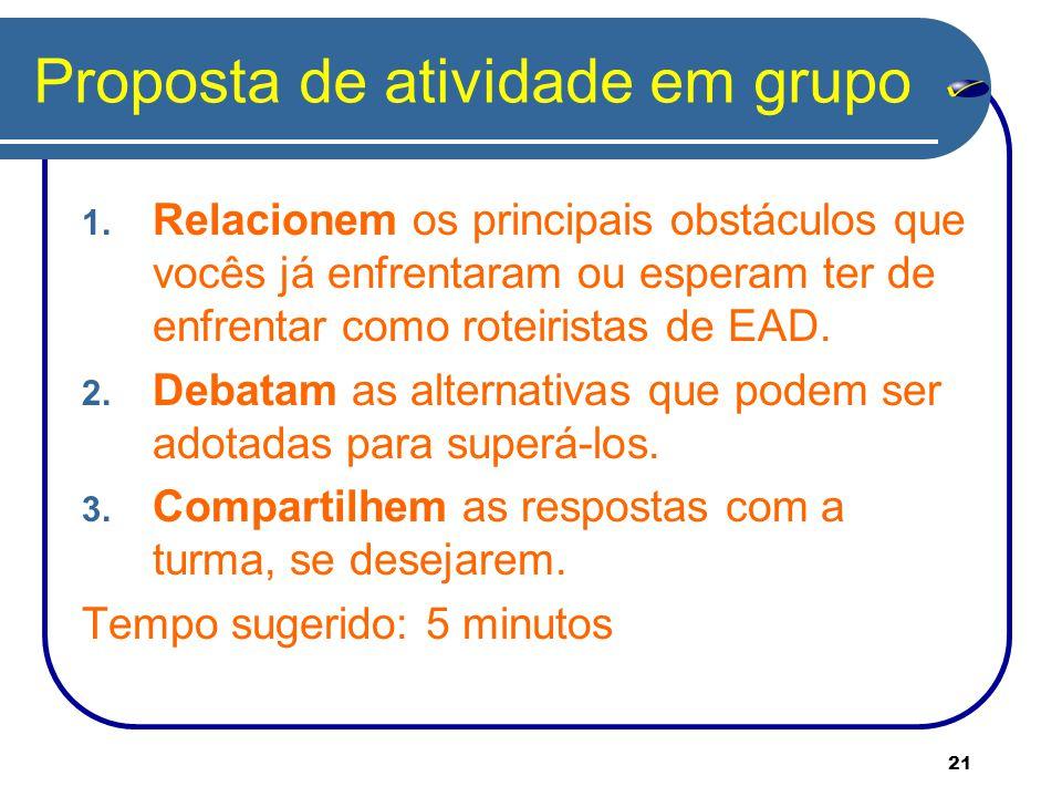 Proposta de atividade em grupo
