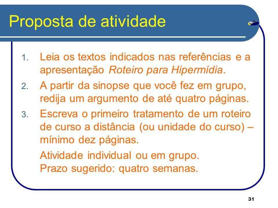 Proposta de atividade Leia os textos indicados nas referências e a apresentação Roteiro para Hipermídia.