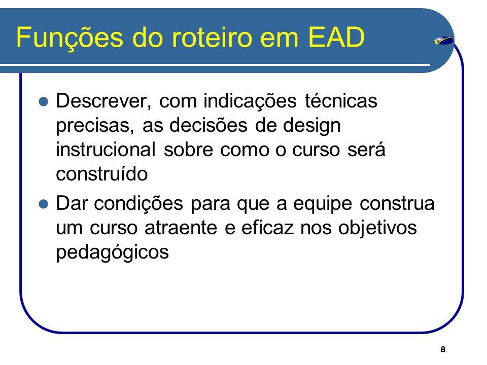 Funções do roteiro em EAD