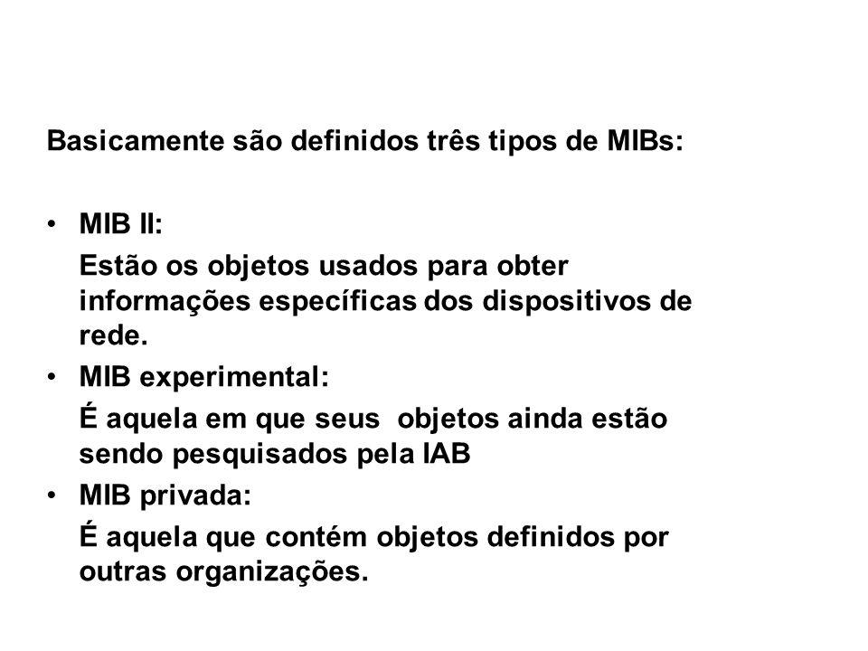 SNMP / Tipos de MIB Basicamente são definidos três tipos de MIBs: