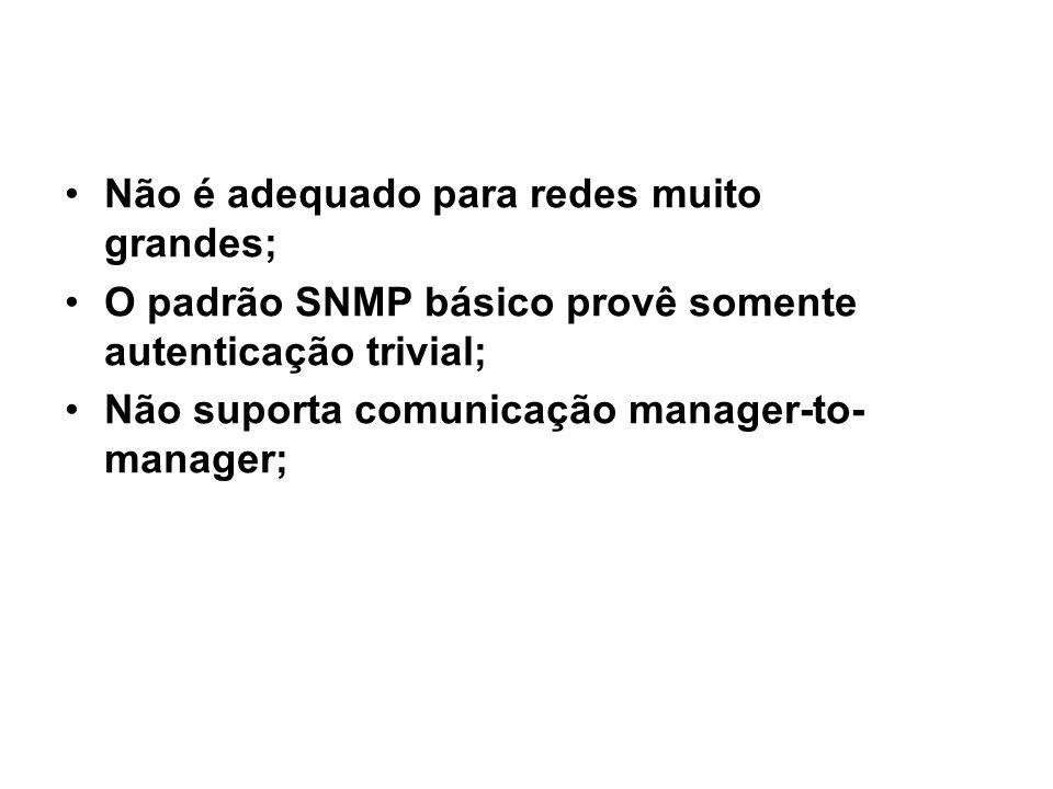 SNMP / desvantagens Não é adequado para redes muito grandes; O padrão SNMP básico provê somente autenticação trivial;
