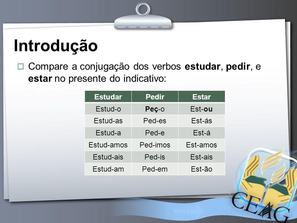 Introdução Compare a conjugação dos verbos estudar, pedir, e estar no presente do indicativo: Estudar.