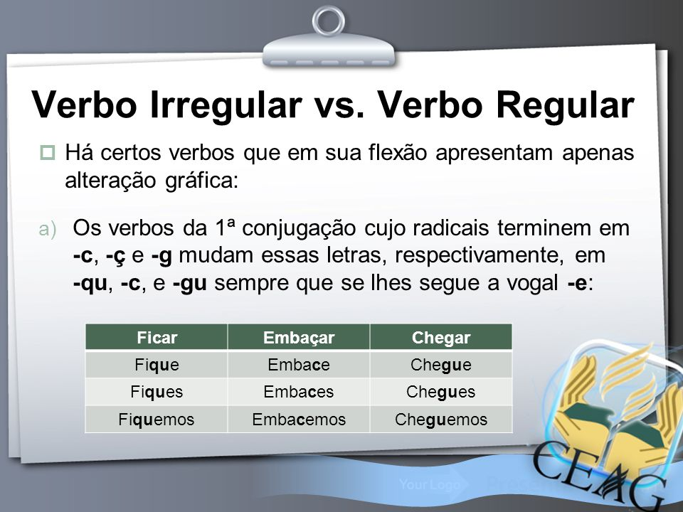 Verbo Irregular vs. Verbo Regular
