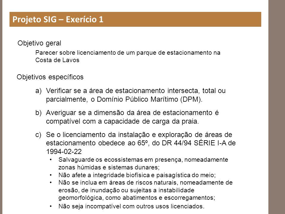 Projeto SIG – Exerício 1 Objetivo geral Objetivos específicos