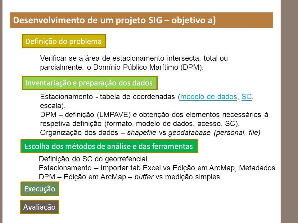 Desenvolvimento de um projeto SIG – objetivo a)