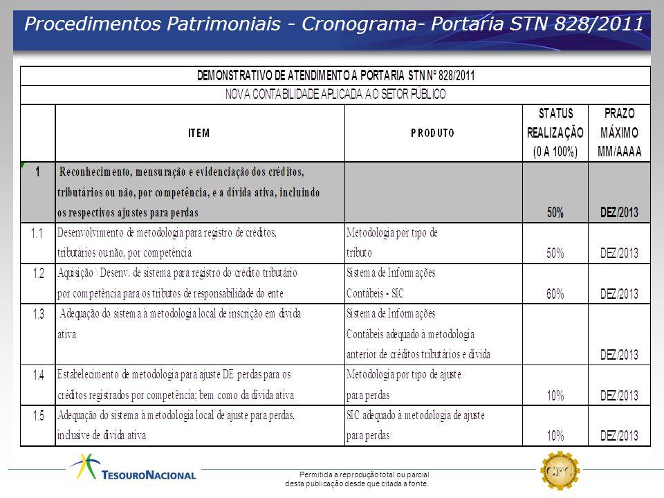 Procedimentos Patrimoniais - Cronograma- Portaria STN 828/2011