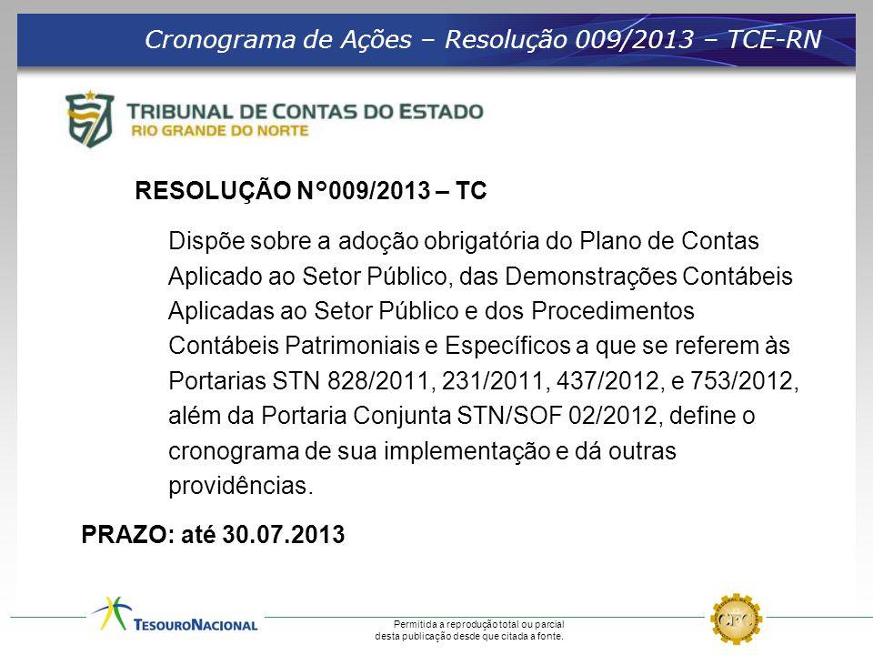 Cronograma de Ações – Resolução 009/2013 – TCE-RN