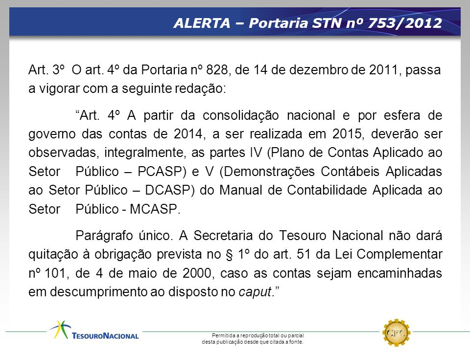 ALERTA – Portaria STN nº 753/2012