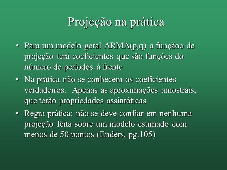 Projeção na prática Para um modelo geral ARMA(p,q) a funçãoo de projeção terá coeficientes que são funções do número de períodos à frente.